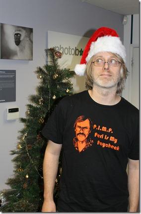 Ben Tisdall wearing santa hat